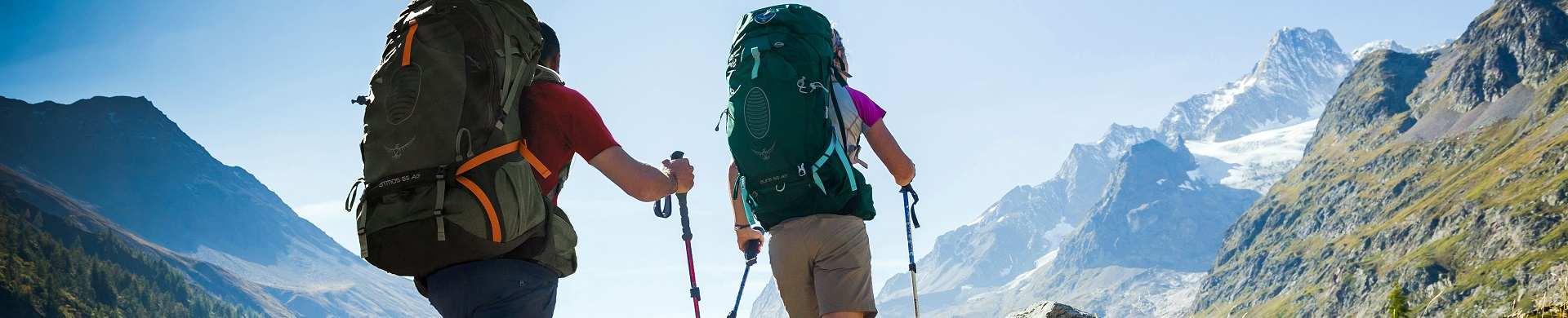 Backpack + Walking Poles + Mountains