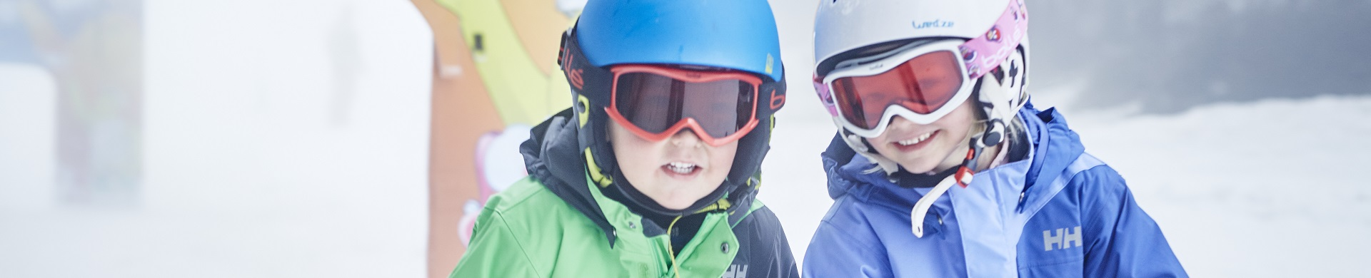 Kids ski clothing + helmets